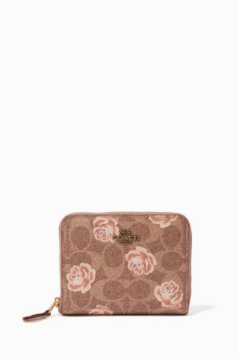 Tan Small Rose Print Zip Around Wallet