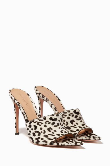 White Leopard-Print Alise Mules