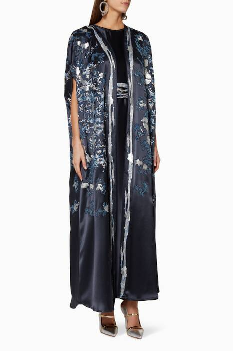 Navy Sequin-Embellished Kaftan