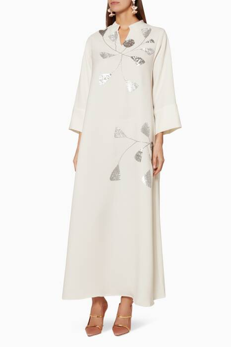 White Sequin-Embellished Kaftan
