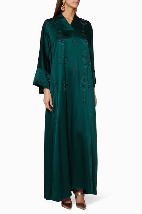 Emerald-Green Embellished Kaftan