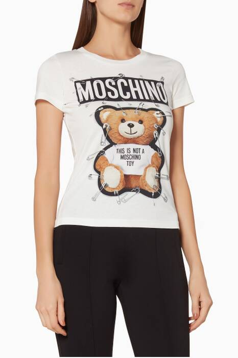 White Printed Teddy Safety-Pins T-Shirt