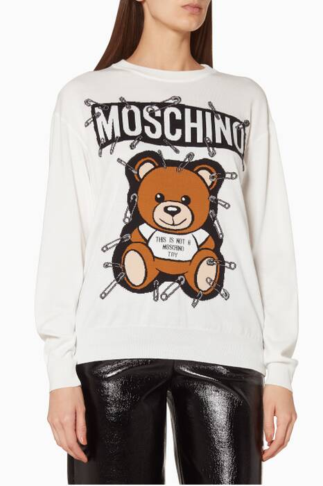 White Printed Teddy Safety-Pins Sweater
