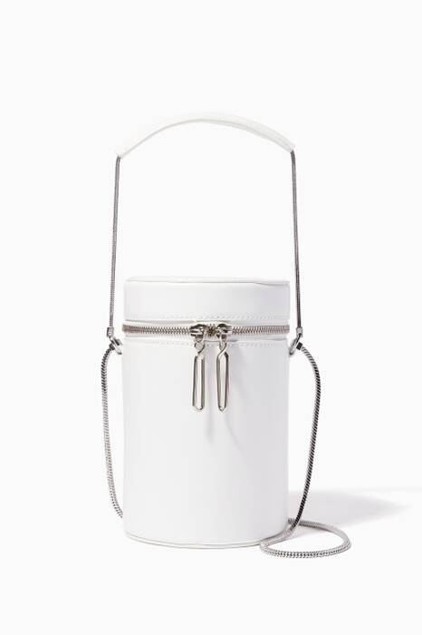 White Soleil Mini Barrel Top Handle Bag