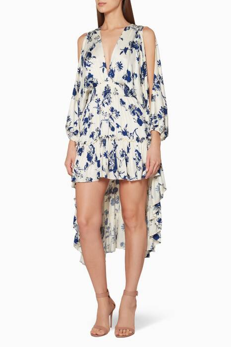 White & Blue Floral-Print Isabelle Dress