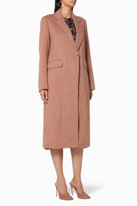 Vintage Rose Brushed-Wool Long Coat
