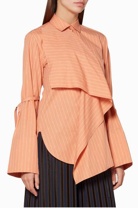 Peach-Orange Striped Ripple Shirt