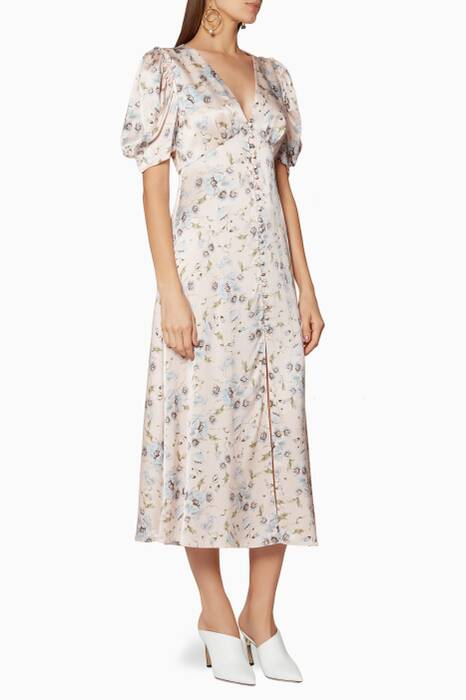 Powder-Pink Floral-Print Delaney Dress