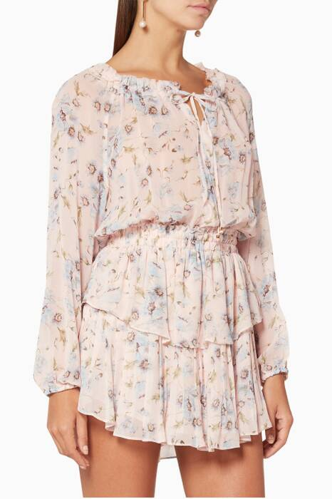 Powder-Pink Floral-Print Popover Mini Dress