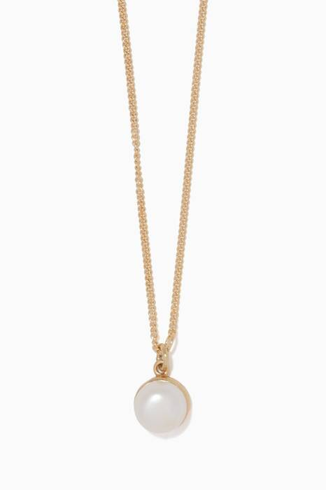 Gold Pearled Single Pendant Necklace
