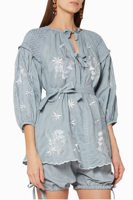 Grey Mini Smock Embroidered Tunic Top