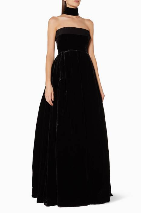 Black Velvet Strapless Lia Gown
