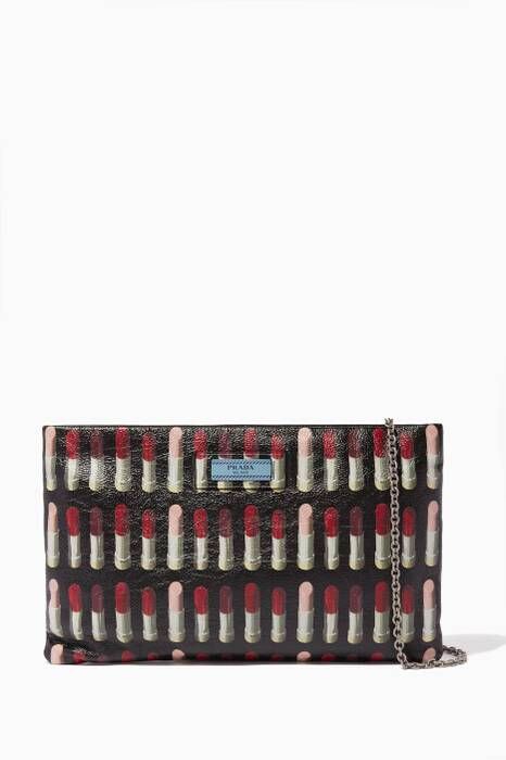 Black Iconic Lipstick Print Leather Clutch
