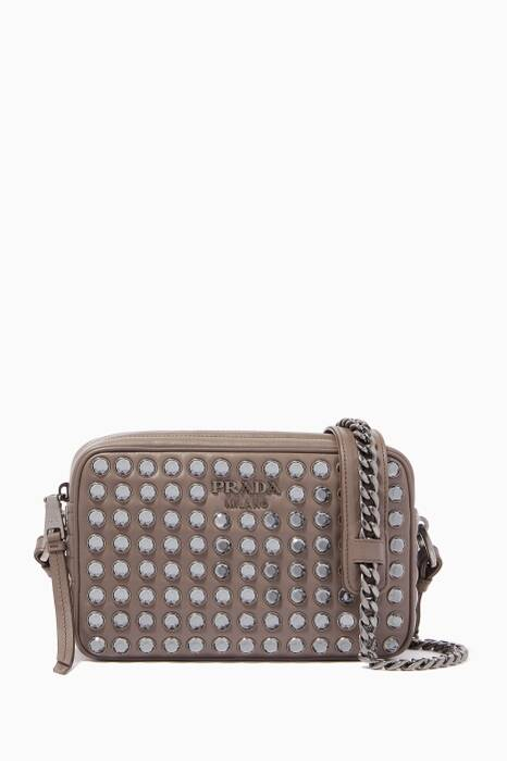 Brown Diagramme Crystal Leather Cross-Body Bag