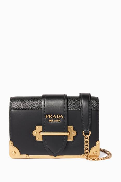 Black Mini Cahier Leather Shoulder Bag