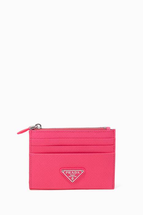 Bright-Pink Saffiano Leather Cardholder