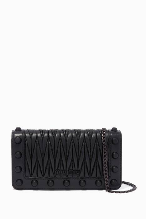 Black Matelassé Leather Studded Chain Wallet