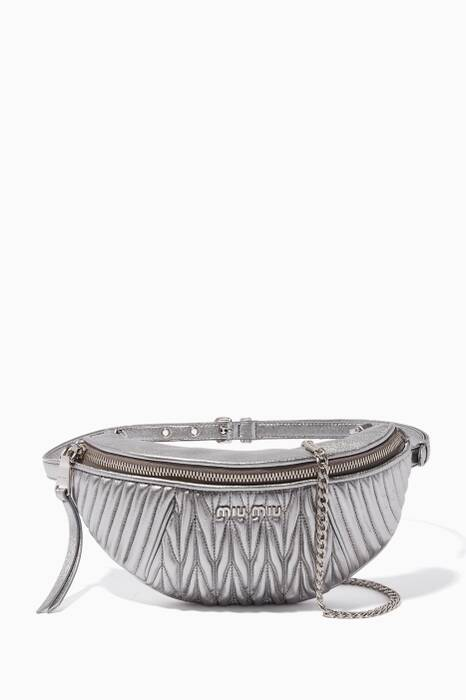 Silver Matelassé Leather Belt Bag