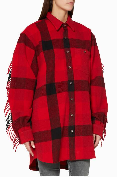 Red Checked Flannel Western Shirt