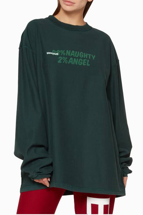 Dark-Green Long-Sleeve Graphic T-Shirt