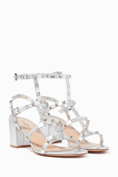 Metallic-Silver Rockstud Cage Sandals