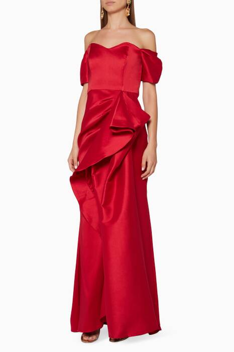 Ruby-Red Off-The-Shoulder Gown