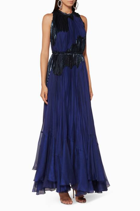 Navy Pleated Alanis Gown