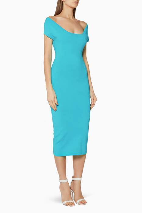 Cyan-Blue Cierra Midi Dress