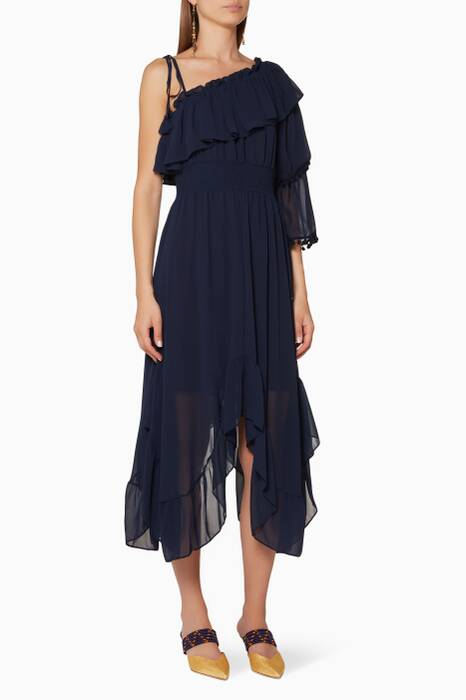 Navy Ruffled Jinger Dress