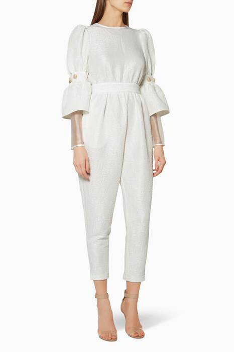 White Embellished-Sleeve Jumpsuit