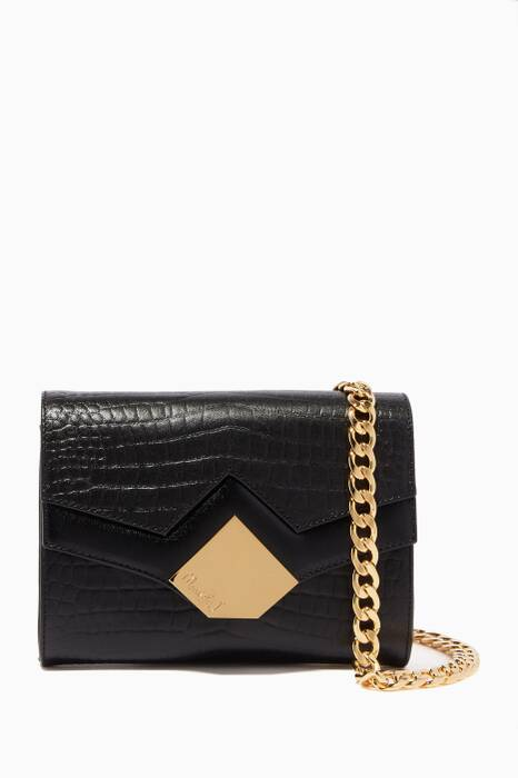 Black Baby Chou Crocodile-Embossed Cross-Body Bag