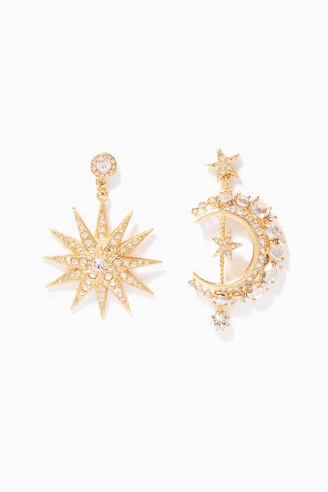 Gold Moon & Star Earrings