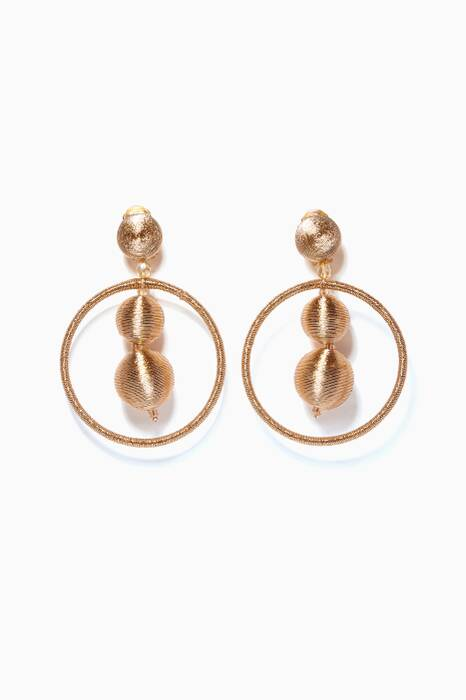 Gold Beaded Ball Hoop Earrings
