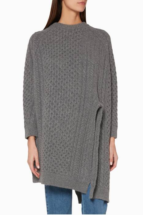 Grey Knitted Aran Cape