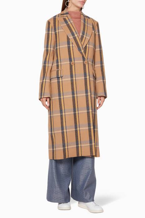 Camel-Brown Checked Long Coat