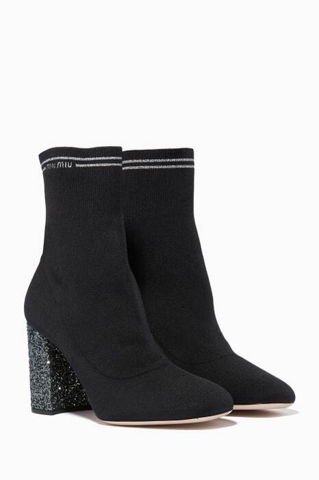 Black Glitter Stretch Booties