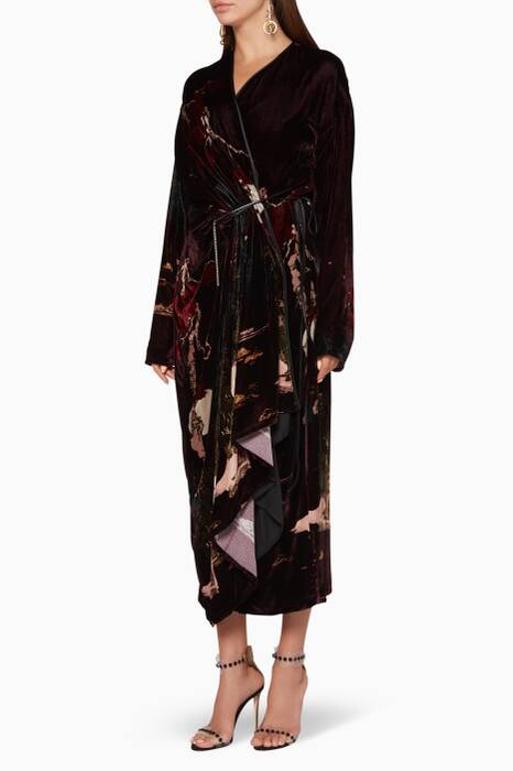 Burgundy Printed Wrap Velvet Dress