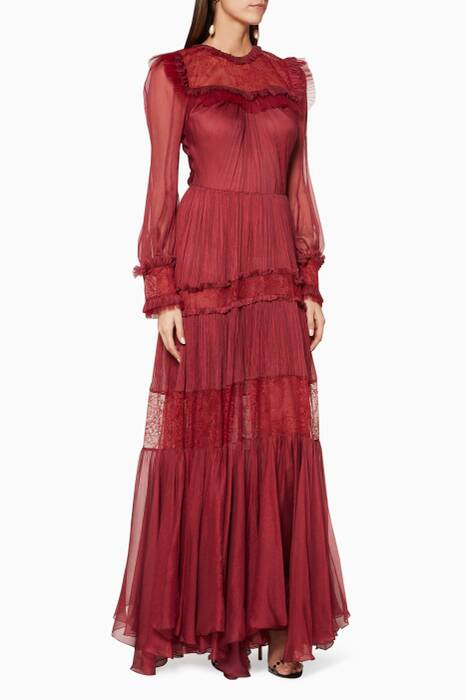 Pomegranate-Red Lace-Panel Holly Gown