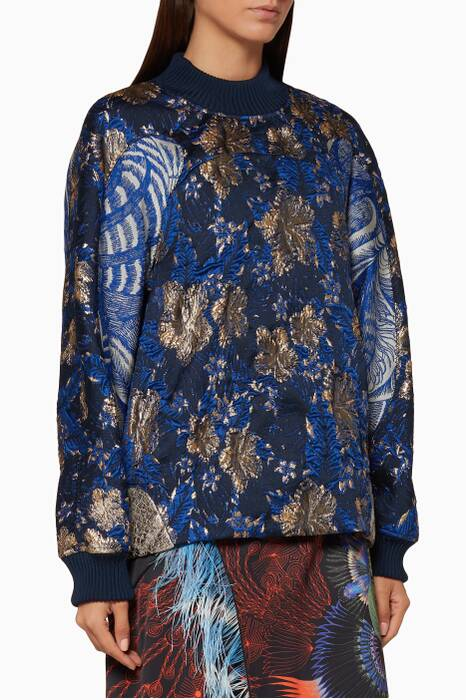 Blue Floral-Jacquard  Catter Top