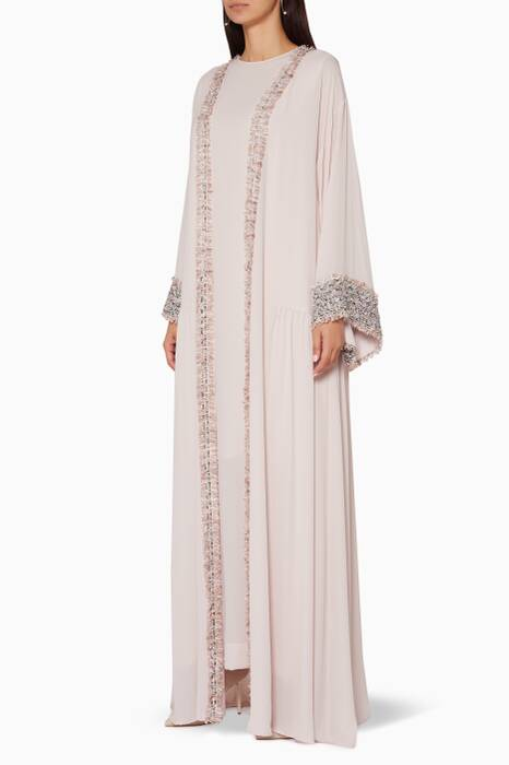 Light-Pink Moroccan Tweed Embroidered Kaftan