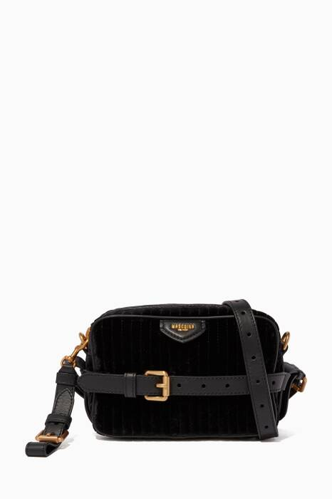Black Velvet Quilted Cross-Body Bag
