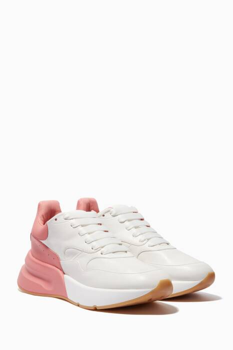 White & Pink Oversized Runner Sneakers