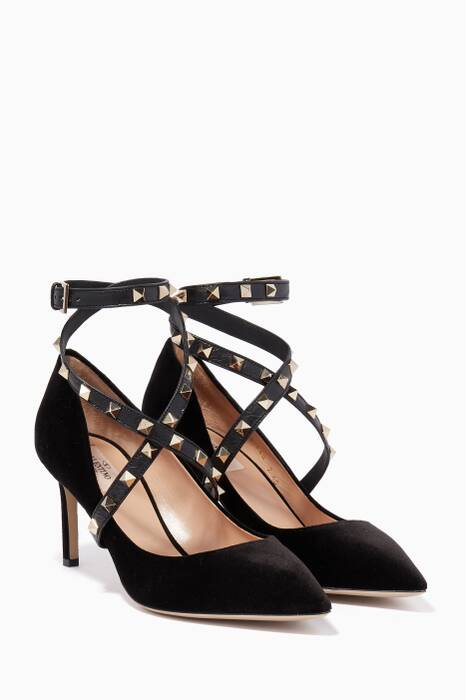 Black Rockstud Cross-Over Velvet Pumps