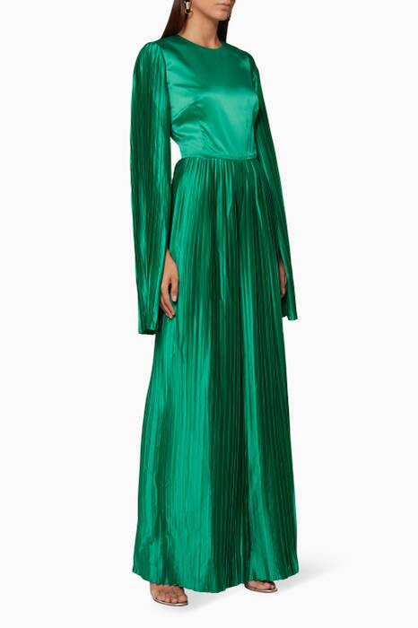 Green Pleated Wide-Leg Jumpsuit