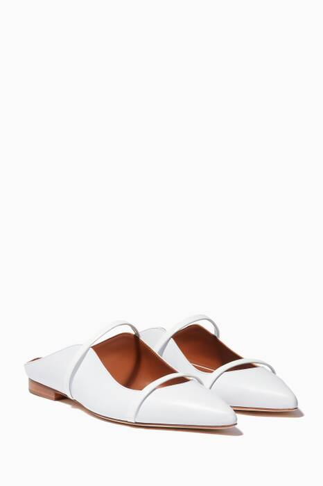 White Maureen Leather Flats