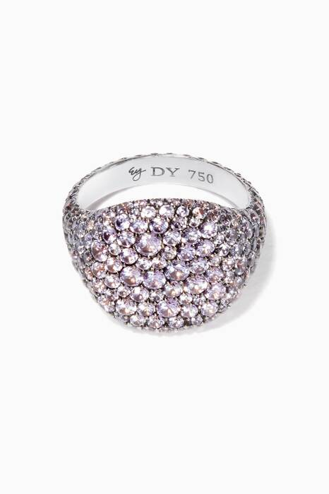 White-Gold & Purple Sapphires Pavé Pinky Ring