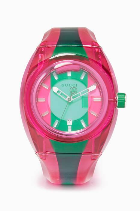 Pink, Green and Gucci Sync Striped Watch