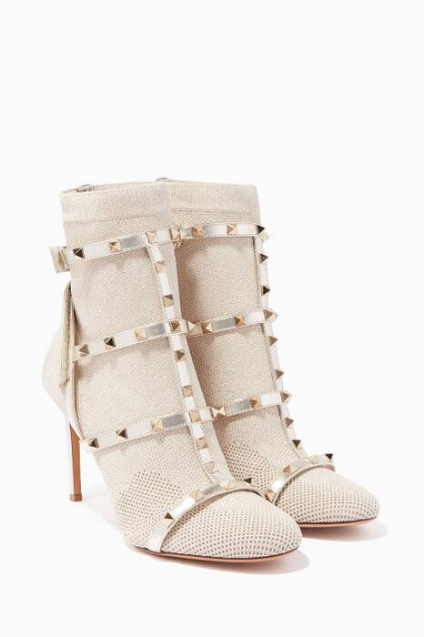 Gold Rockstud Bodytech Knit Booties