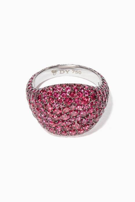 White-Gold & Ruby Pavé Pinky Ring