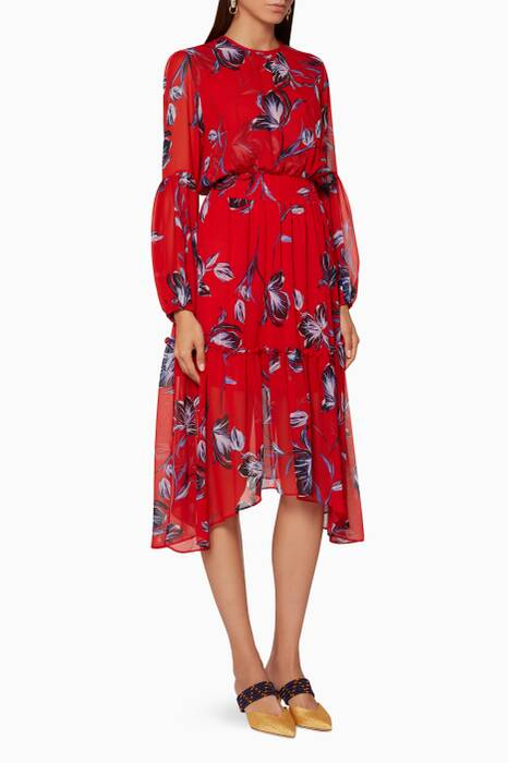 Red Floral-Print Simone Dress